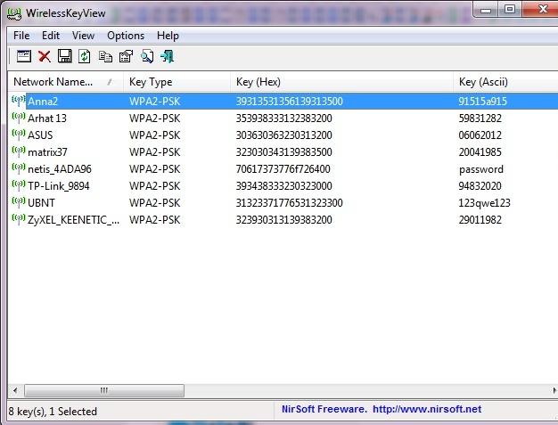 как посмотреть пароль от вайфая на ноутбуке: установите программу WirelessKeyView